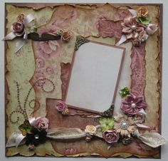 Premade Scrapbook Page 12 x 12, Vintage, Shabby Chic, Victorian, Romantic. Diane's Creations, via Etsy.