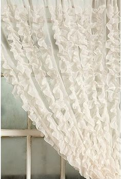this curtains are vertically gathered ruffles, it does give more tailored look and ooooh pretty Ruffle Curtains, Striped Curtains, White Curtains, Dream Bedroom, Girls Bedroom, Linens And Lace, Big Girl Rooms, Window Coverings, Window Treatments