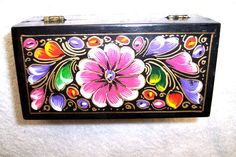 Mexican Folk Art Box Hand Painted Batea Ethnic Jewelry Trinket Blk Laquer Floral