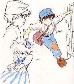 Film: Castle In The Sky ===== Character Design: Pazu (& Sheeta) ===== Production Company: Studio Ghibli ===== Director: Hayao Miyazaki ===== Producer: Isao Takahata ===== Written by: Hayao Miyazaki ===== Distributed by: Toei Company
