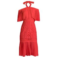 Temperley London Berry lace off-the-shoulder dress (336.615 CLP) ❤ liked on Polyvore featuring dresses, day dresses, coral, red cocktail dress, halter cocktail dress, lace overlay dress, lace party dresses and red off the shoulder dress
