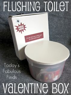 Today's Fabulous Finds: Flushing Toilet (Valentine Box) so cute! Valentines Card Holder, Valentine Day Boxes, Valentine Day Crafts, Valentine Ideas, Valentine Party, My Funny Valentine, Valentines For Boys, Valentine's Day Diy, Holiday Fun