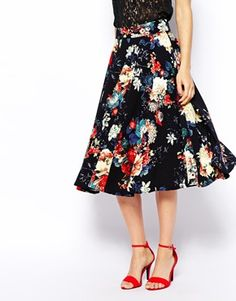 Image 4 of Closet Textured Midi Skirt in Fall Floral Print