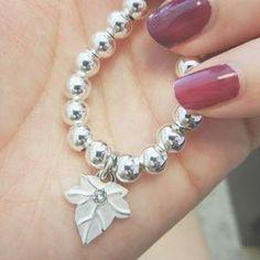 Silver Ivy Leaf 6mm Ball Bead Bracelet.