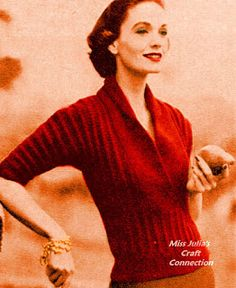 Miss Julia & # s Patterns: Free Pattern - Vogue 1950 Ridged Pattern Sweater # 34 . Miss Julia& Instructions: Free Pattern – Vogue 1950 Ridged Pattern Sweater # 340 Vintage Crochet Patterns, Loom Knitting Patterns, Vintage Knitting, Knitting Tutorials, Stitch Patterns, Vogue Knitting, Sock Knitting, Knitting Machine, Free Knitting
