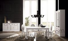 Mueble de comedor de Lapausa y Mora, colección Lore. Camposición 07 con acabado en Blanco con plata 53.