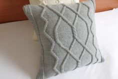 Cable knit cushion cover gray, hand knit pillow cover, knitted throw pillow, decorative couch pillow, home decor, toss pillow sham