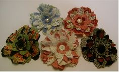 Adornments by lisa: Fabric Flower pins