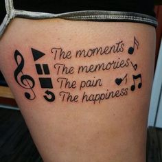 New Tattoo Ideas Music Design Ink 64 Ideas – tattoo sleeve Music Quote Tattoos, Thigh Tattoo Quotes, Foot Tattoos, Tattoo Music, Tattoo Thigh, Saxophone Tattoo, Music Quotes, Trendy Tattoos, Unique Tattoos