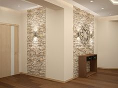 corridor design- дизайн коридора corridor design - in 2019 Tv Wall Design, Ceiling Design, House Design, Faux Stone Walls, Flur Design, Hallway Designs, Home Decor Hacks, Types Of Doors, Hallway Decorating