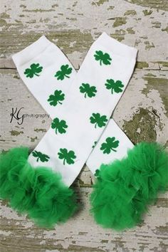 St. Patty Leg Warmers  too bad we wont be at school for st pattys this year