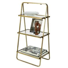 Gold Etagere With Glass Shelves