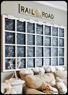 The Old Painted Cottage {The Blog}    I like how big it is, but guess you could even put 2-3 together on a big wall, and have chalkboard, or glass with pictures, decals..whatever you choose to use to decorate it with of such.