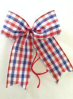 Dark Red /& Navy Blue Bloom Bows Red-White-Blue Gingham