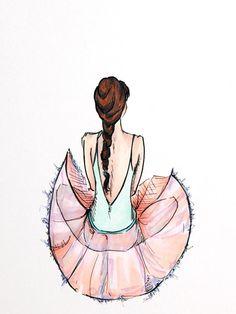 Pink ballerina illustrated print 4x6'' by katielisdesign on Etsy, $5.00