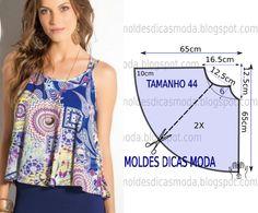Tenha em atenção que o desenho do molde de blusa godé estampada não tem valor de costura tem que ser acrescentado. Apenas os moldes que são para imprimir têm valor de costura. Analise de forma detalha