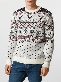 Off White Reindeer Crew Neck Christmas Jumper - Men's Jumpers & Cardigans…