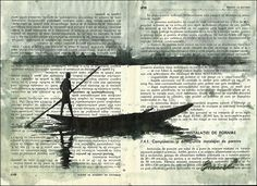Africa - ink drawing on book pages