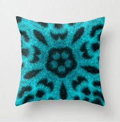 Teal #Leopard Flower Kaleidoscope a Society6 Front Page Feature  #homedecor #giftideas