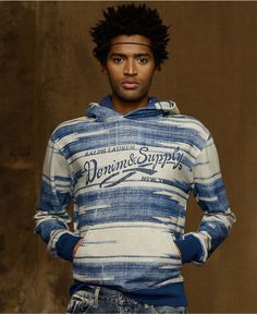 Denim & Supply Ralph Lauren Sweatshirt, Light Weight Boulder-Print Fleece Hoodie - Mens Denim & Supply Shop All - Macys