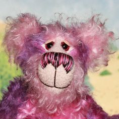 Pansy a gorgeous and adorable one of a kind, hand dyed mohair, artist bear by Barbara-Ann Bears made in soft purples and pinks