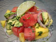 If you live anywhere the thermometer reaches the 100s during the Summer like it does in Texas, finding ways to beat the heat are essential. This salad has an unusual combination of ingredients, but the flavors work perfectly together. The cool, juicy, and crisp watermelon is an ideal contrast to the smooth and creamy avocado. Seasoned with lime juice and cilantro, this salad is sure to cool you off on a hot day. Not only that, but watermelon is a good source of vitamin A, vitamin C…