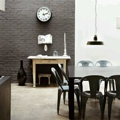 Painted Brick Walls...looks good here in charcoal tones