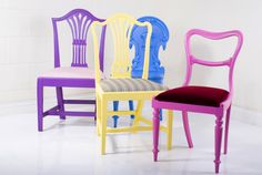 re-purposed antique chairs by standrin - klash furniture Bench Furniture, Funky Furniture, Paint Furniture, Upcycled Furniture, Furniture Ideas, Old Chairs, Vintage Chairs, Antique Chairs, White Chairs