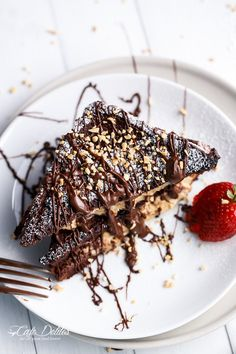 Peanut Butter Cheesecake Stuffed Chocolate Brownie French Toasts | http://cafedelites.com
