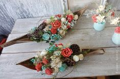 Rustic Top table arrangement Mint And by FlowerBootsLigaAsere