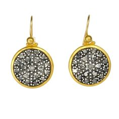 24K Gold Earrings with Black Pave Diamonds by GURHAN