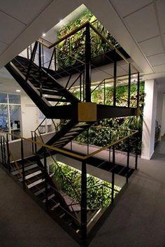 Three floors of vertical gardens along the stairs. Three floors of vertical gardens along the … Hells Kitchen, Malm, Madison Square Garden, Vertical Garden Design, Vertical Gardens, Dubai Miracle Garden, Brick Patterns Patio, Green Facade, Magic Garden