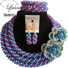 Find More Jewelry Sets Information about Brand Laanc 2017 Wedding Jewelry Set Gold African Beads Choker Crystal Necklace Blue Turquoise Hot Pink AL163,High Quality Jewelry Sets from laanc african beads Store on Aliexpress.com