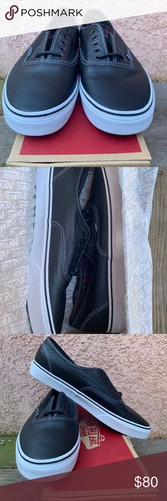 8f417a6ab2c Vans authentic shoes black leather white NIB D.S. NIB the tag fell off