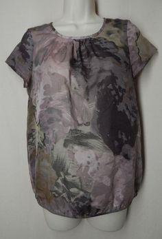 ANN TAYLOR LOFT Size S Purple Mauve Floral Cap Sleeve Blouse Top #AnnTaylorLOFT #Blouse