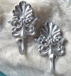 Cast Iron  Victorian Hooks  Set of Two Painted  by happybdaytome, $20.00
