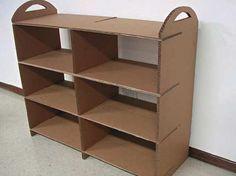Cool Diy Cardboard Furniture Design Ideas To Try Asap 08 Cardboard Recycling, Cardboard Storage, Cardboard Box Crafts, Diy Storage, Cardboard Organizer, Retro Furniture, Diy Furniture, Furniture Design, Diy Para A Casa