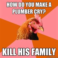 how do you make a plumber cry kill his family - Anti-Joke Chicken