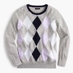 This argyle crewneck sweater has a relaxed fit and is the perfect now-and-later layer, thanks to our lighter summerweight cotton. Relaxed fit. Hits slightly below hip. Cotton. Rib trim at neck, cuffs and hem. Machine wash. Import.