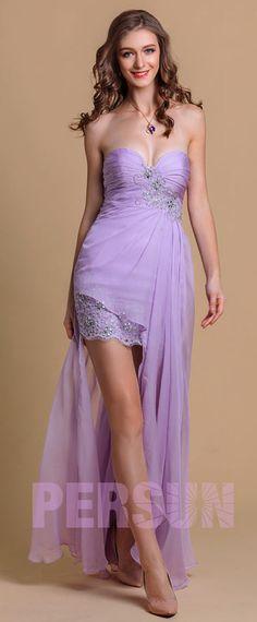 robe de soirée lilas courte devant longue derrière bustier coeur orné de strass Prom Dresses, Formal Dresses, Bustier, Rose, Cocktail, Fashion, Lilac Dress, Evening Dresses, Seesaw