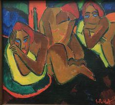 Karl Schmidt-Rottluff (German, 1884 - At The Kiosk, Шмидт-Роттлафф (немецкий, 1884 - в киоске, Emil Nolde, Franz Marc, Kandinsky, Dresden, Städel Museum, Karl Schmidt Rottluff, Modern Art, Contemporary Art, Infinite Art