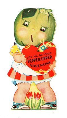 VINTAGE VALENTINE ANTHROPOMORPHIC GREEN PEPPER VEGETABLE CARD