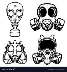 Set of gas masks isolated on white background. Design element for logo label Gas Mask Drawing, Gas Mask Art, Masks Art, Gas Masks, Graffiti Drawing, Graffiti Lettering, Graffiti Art, Tattoo Drawings, Art Drawings