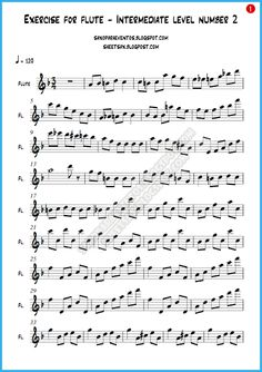 Ejercicio número 3 para flauta Nivel Intermedio (Partituras gratis de ejercicios para flauta)