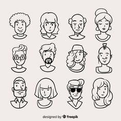 Discover thousands of free-copyright vectors on Freepik Cartoon People, Cartoon Faces, Cartoon Drawings, Cartoon Art, Easy Drawings, Drawing Sketches, Character Drawing, Character Illustration, Character Design