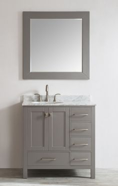 Eviva Aberdeen 36 inch bathroom sink vanity has unique and very simple lines that defines its simplicity and explains its consistency in style. Eviva Aberden comes with a double layer italian white ca