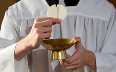 """A Catholic bishop in Illinois decreed that Holy Communion and funeral rites should be denied to same-sex couples who don't show """"some signs of repentance. Catholic Bishops, Catholic Art, The Ordinary Uses, Communication, The Tabernacle, The Rite, Fire Heart, Blessed Mother, Gay Couple"""