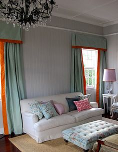 blue gray curtains with orange band with valance - love