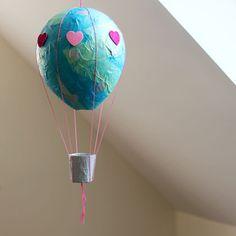 Paper Mache Hot Air Balloon   Spoonful via @Hideous! Dreadful! Stinky! (Marigold Haske)