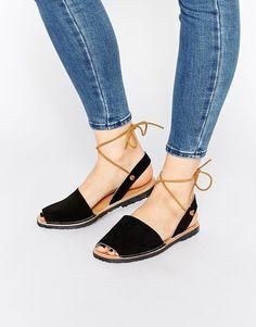 Park Lane Ankle Tie Suede Sling Flat Sandals 40b261faf5b